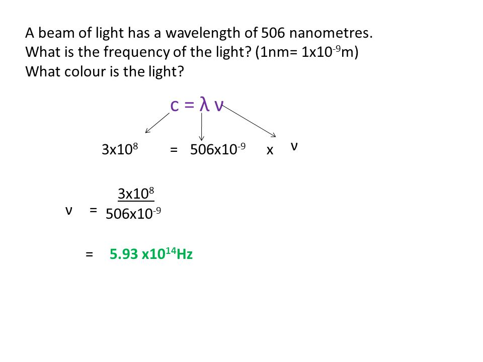 c = λ ν A beam of light has a wavelength of 506 nanometres.