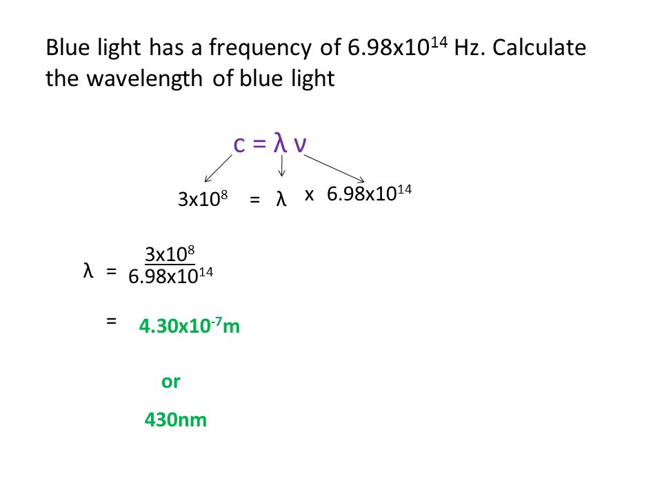 Blue light has a frequency of 6. 98x1014 Hz