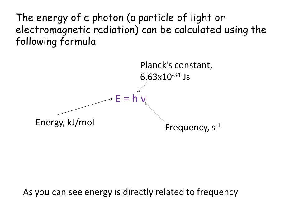 The energy of a photon (a particle of light or electromagnetic radiation) can be calculated using the following formula