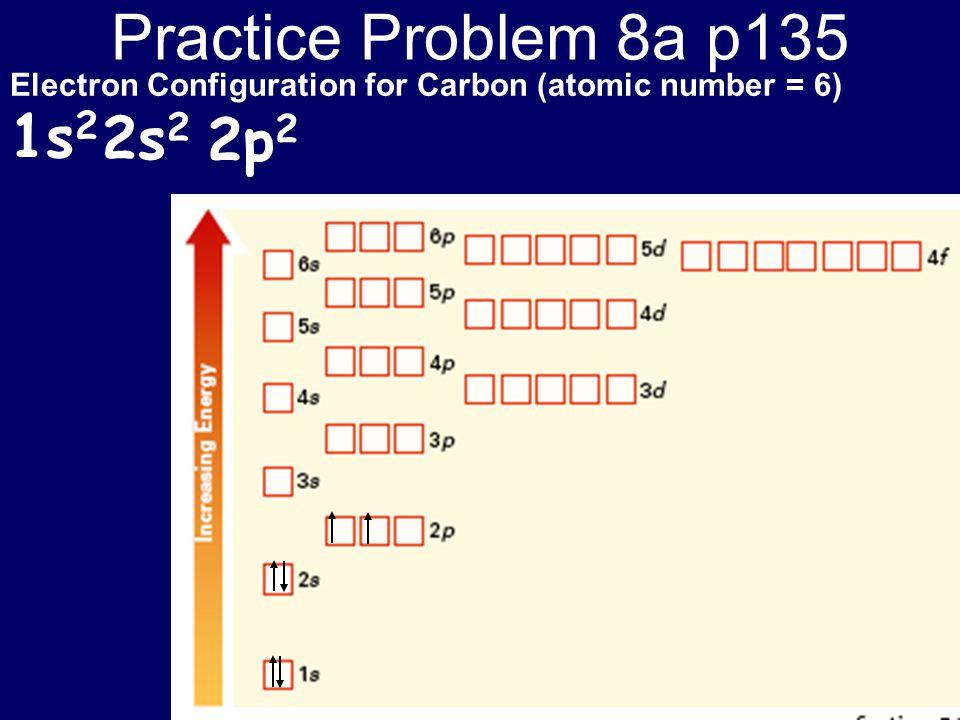 Practice Problem 8a p135 1s2 2s2 2p2