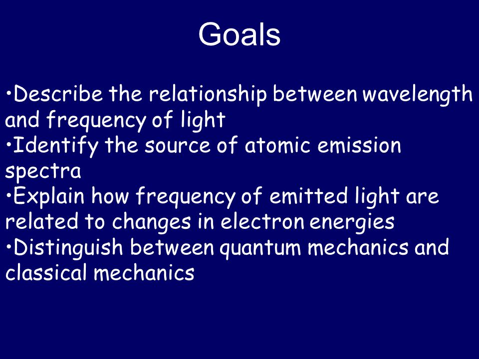 Goals •Describe the relationship between wavelength and frequency of light. •Identify the source of atomic emission spectra.