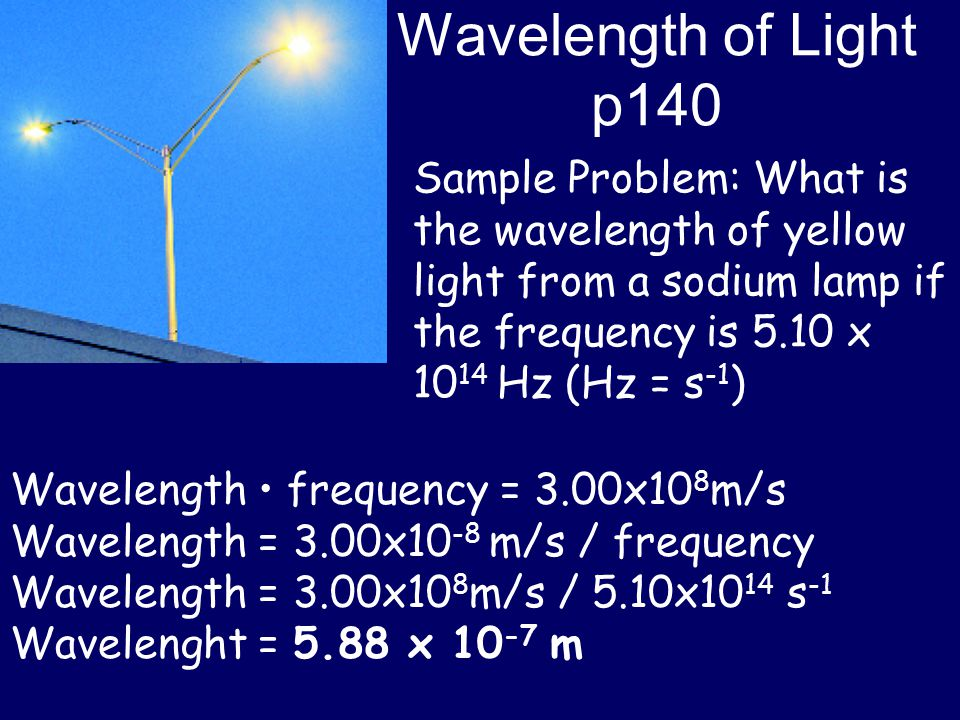 Wavelength of Light p140 Sample Problem: What is the wavelength of yellow light from a sodium lamp if the frequency is 5.10 x 1014 Hz (Hz = s-1)