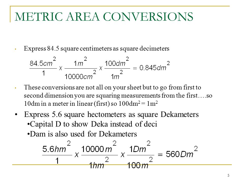 METRIC AREA CONVERSIONS