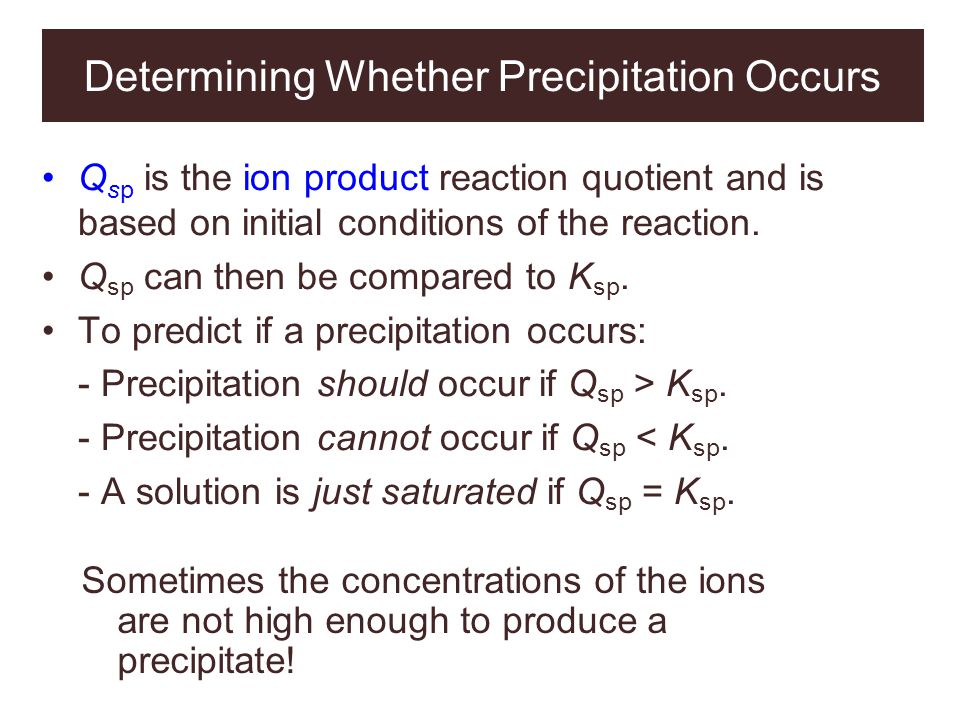 Determining Whether Precipitation Occurs