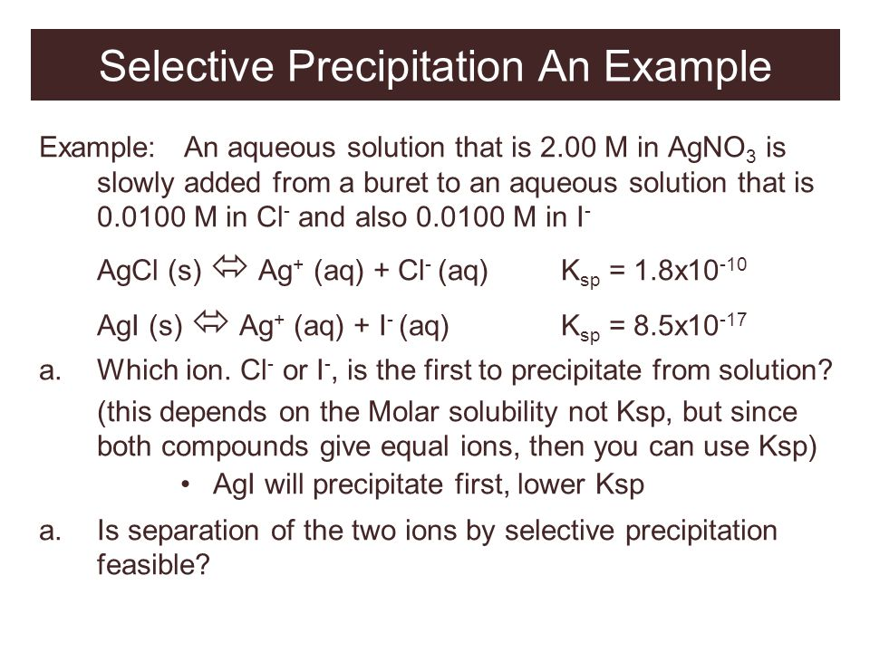 Selective Precipitation An Example