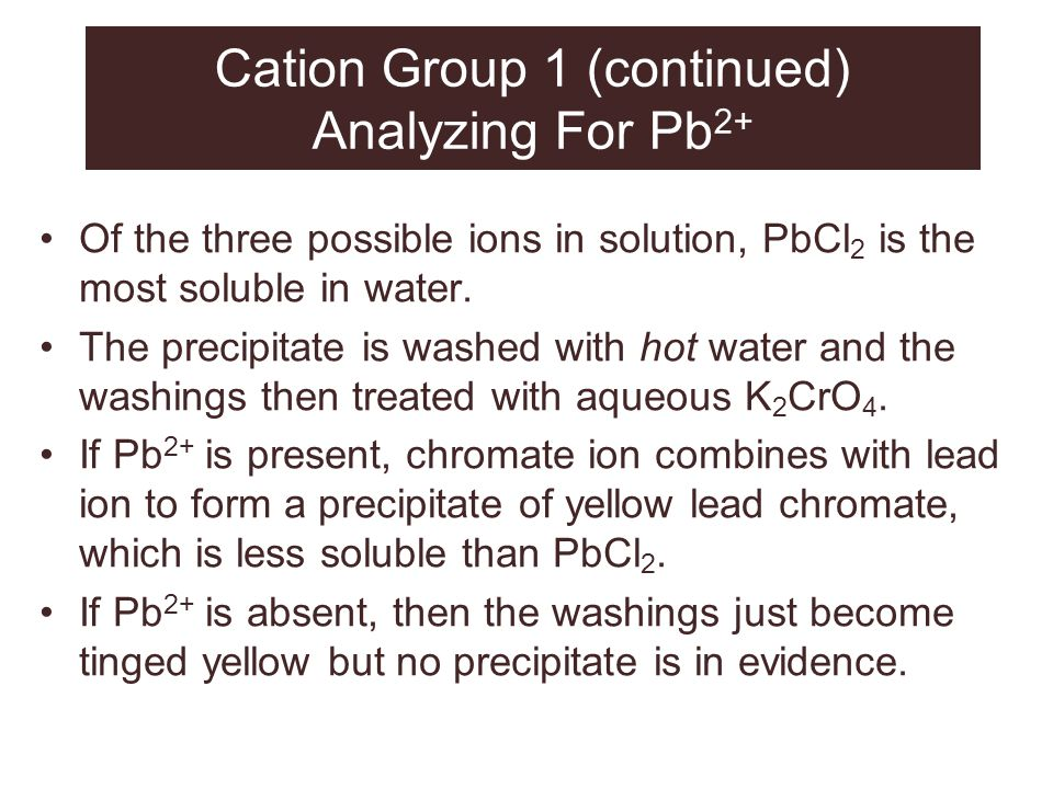 Cation Group 1 (continued) Analyzing For Pb2+