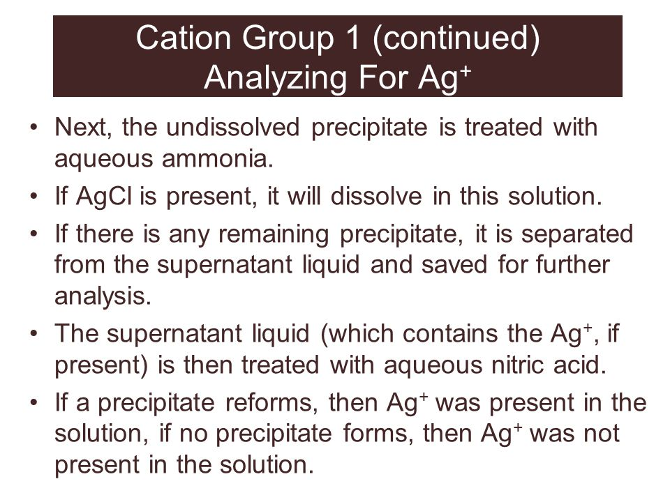 Cation Group 1 (continued) Analyzing For Ag+
