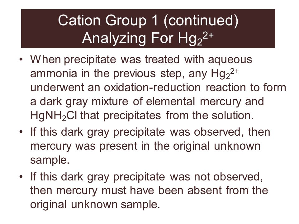 Cation Group 1 (continued) Analyzing For Hg22+