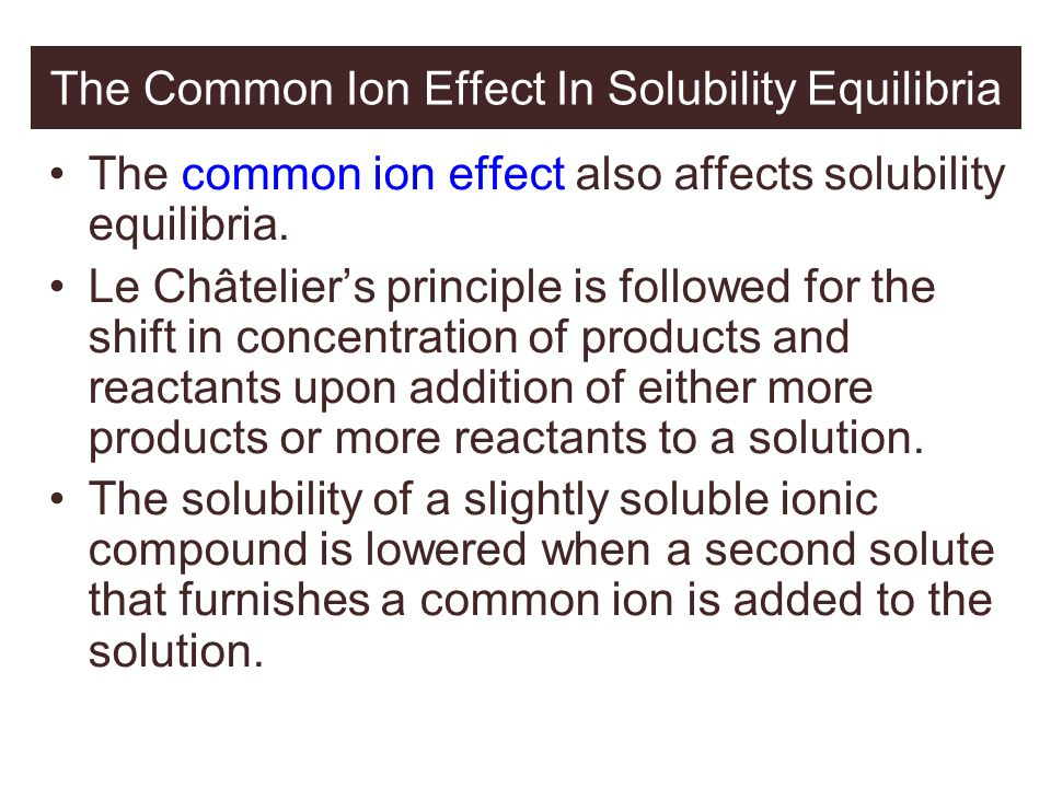 The Common Ion Effect In Solubility Equilibria