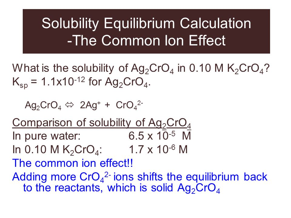 Solubility Equilibrium Calculation -The Common Ion Effect