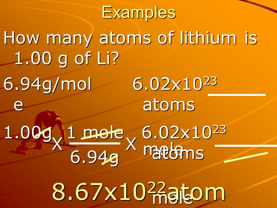 8.67x1022atoms Examples How many atoms of lithium is 1.00 g of Li