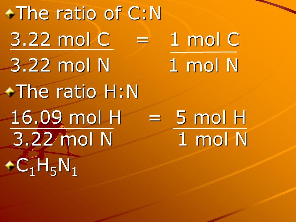 The ratio of C:N 3.22 mol C = 1 mol C. 3.22 mol N 1 mol N. The ratio H:N. 16.09 mol H = 5 mol H 3.22 mol N 1 mol N.
