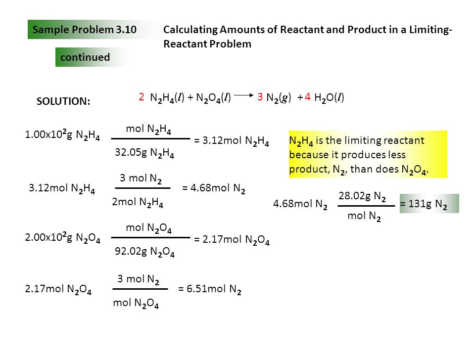 Sample Problem 3.10 Calculating Amounts of Reactant and Product in a Limiting-Reactant Problem. continued.