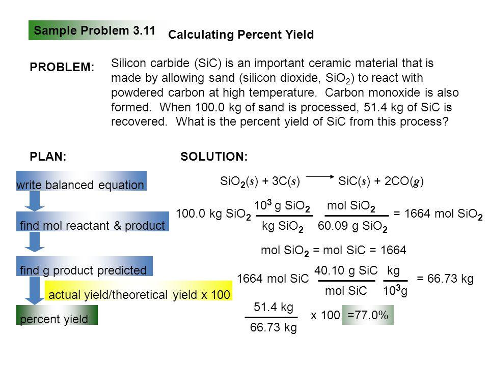 Sample Problem 3.11 Calculating Percent Yield. PROBLEM: