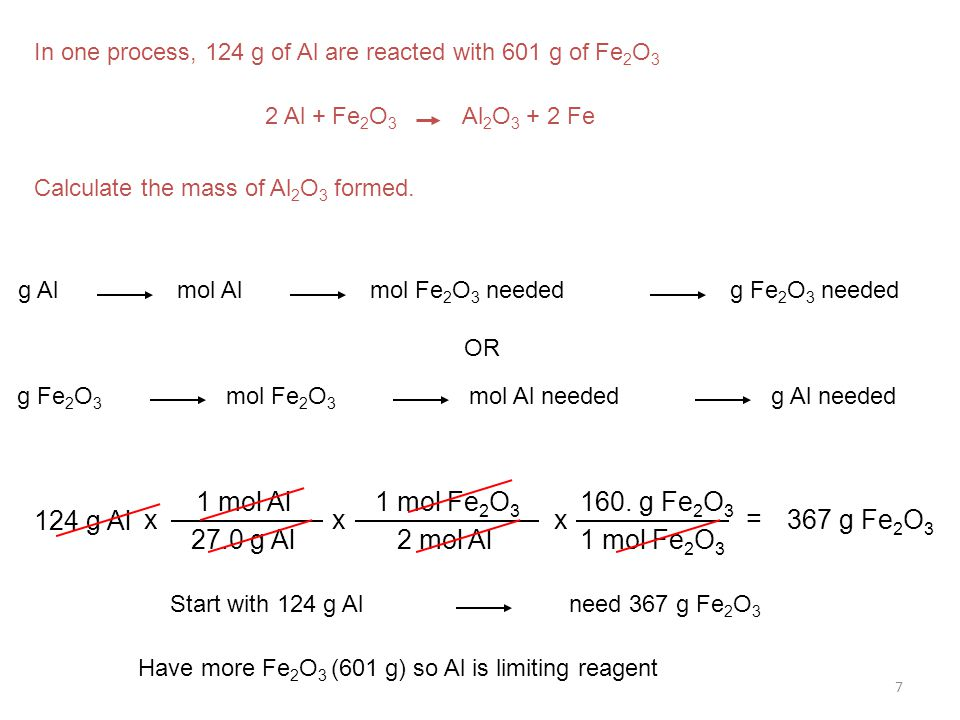 Have more Fe2O3 (601 g) so Al is limiting reagent