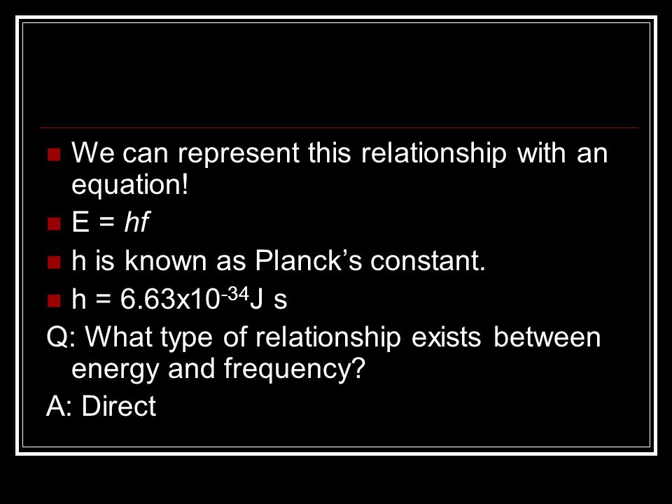 We can represent this relationship with an equation!