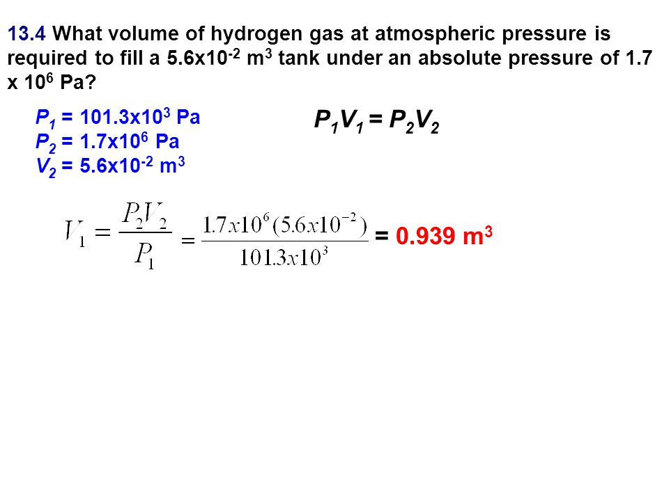 13.4 What volume of hydrogen gas at atmospheric pressure is required to fill a 5.6x10-2 m3 tank under an absolute pressure of 1.7 x 106 Pa