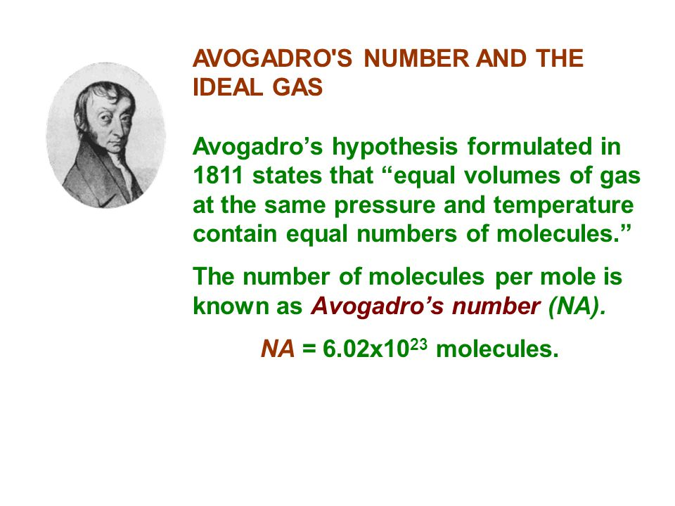 AVOGADRO S NUMBER AND THE IDEAL GAS