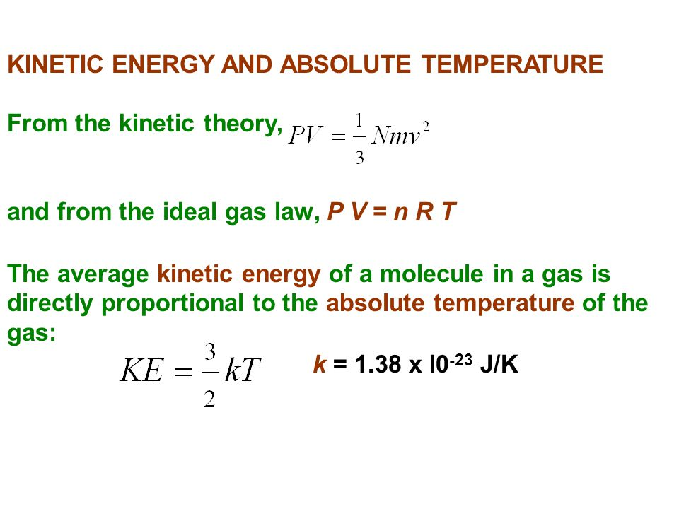 KINETIC ENERGY AND ABSOLUTE TEMPERATURE