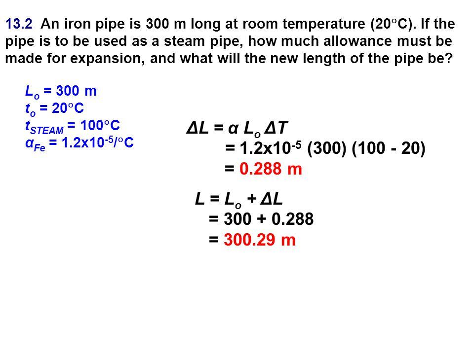 ΔL = α Lo ΔT = 1.2x10-5 (300) (100 - 20) = 0.288 m L = Lo + ΔL