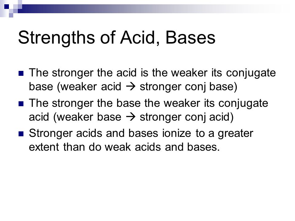 Strengths of Acid, Bases