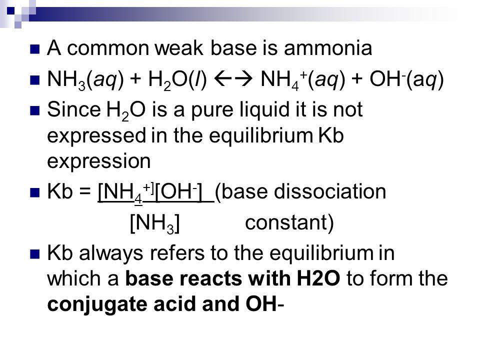 A common weak base is ammonia