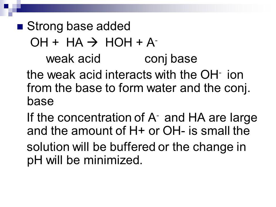 Strong base added OH + HA  HOH + A- weak acid conj base.