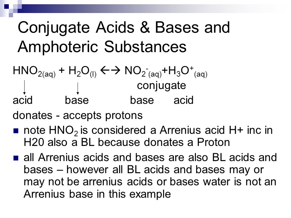 Conjugate Acids & Bases and Amphoteric Substances