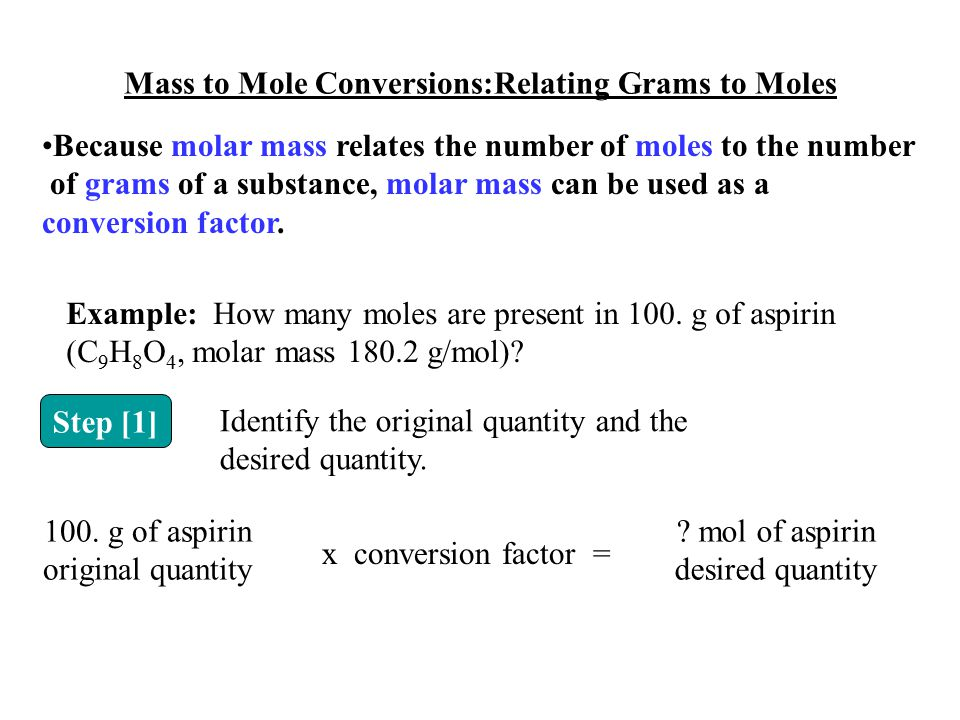 Mass to Mole Conversions:Relating Grams to Moles