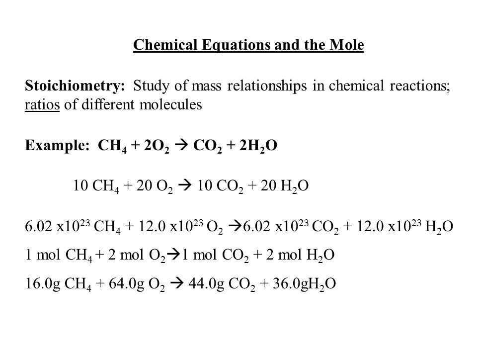 Chemical Equations and the Mole
