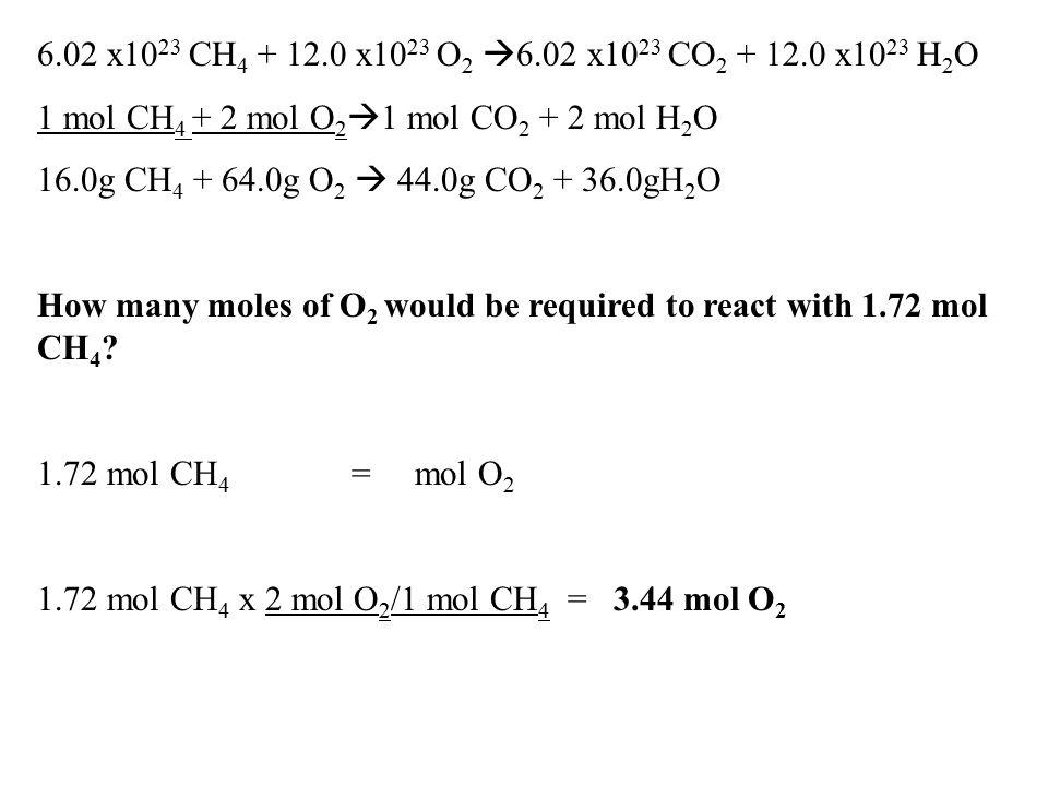 6.02 x1023 CH4 + 12.0 x1023 O2 6.02 x1023 CO2 + 12.0 x1023 H2O 1 mol CH4 + 2 mol O21 mol CO2 + 2 mol H2O.