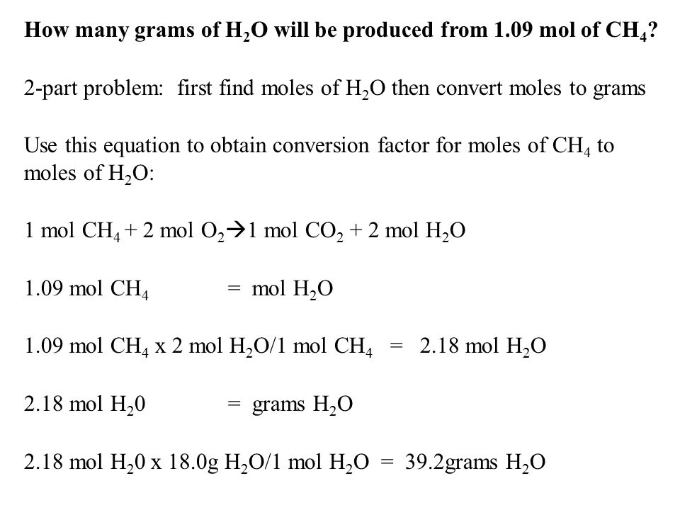 How many grams of H2O will be produced from 1.09 mol of CH4