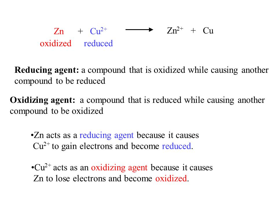 Reducing agent: a compound that is oxidized while causing another