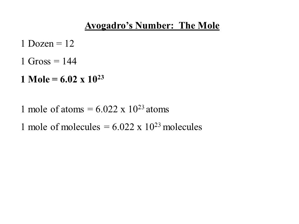 Avogadro's Number: The Mole