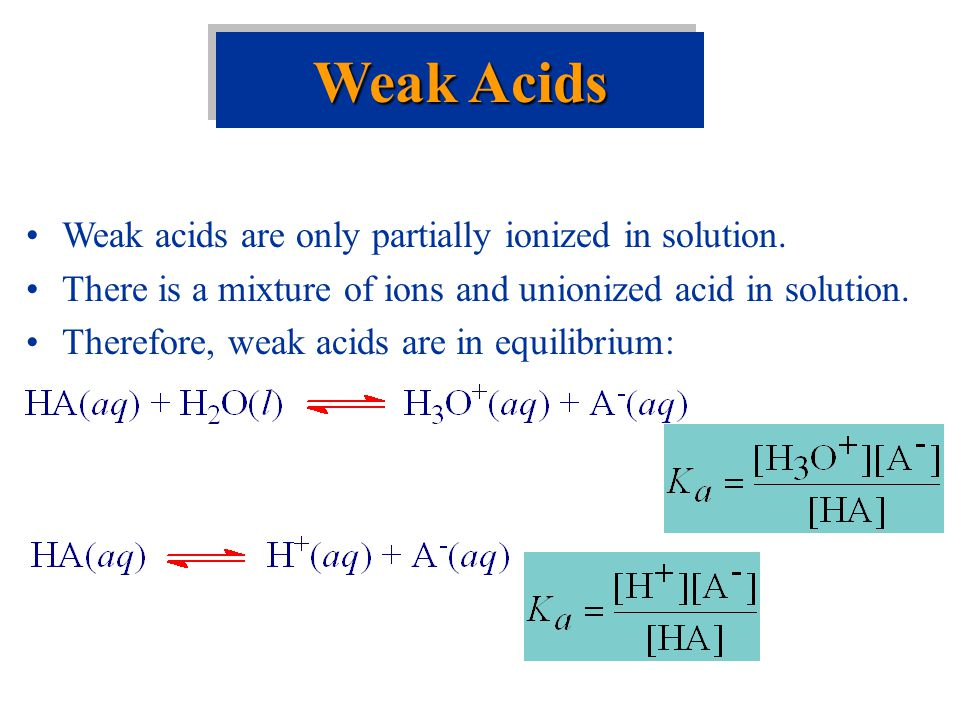 Weak Acids Weak acids are only partially ionized in solution.