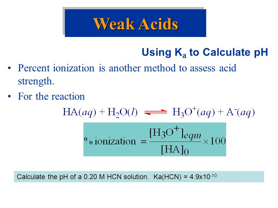 Weak Acids Using Ka to Calculate pH