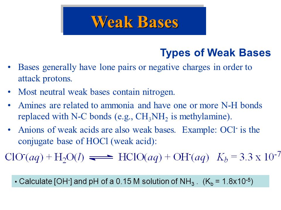 Weak Bases Types of Weak Bases