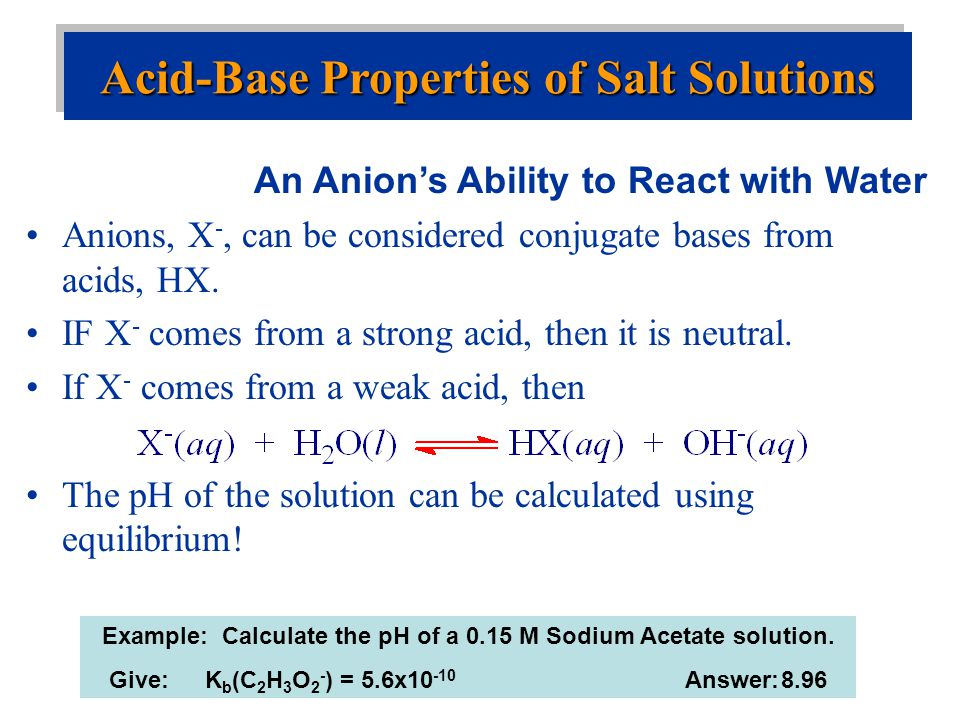 Acid-Base Properties of Salt Solutions