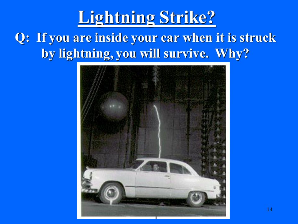 Lightning Strike. Q: If you are inside your car when it is struck by lightning, you will survive.