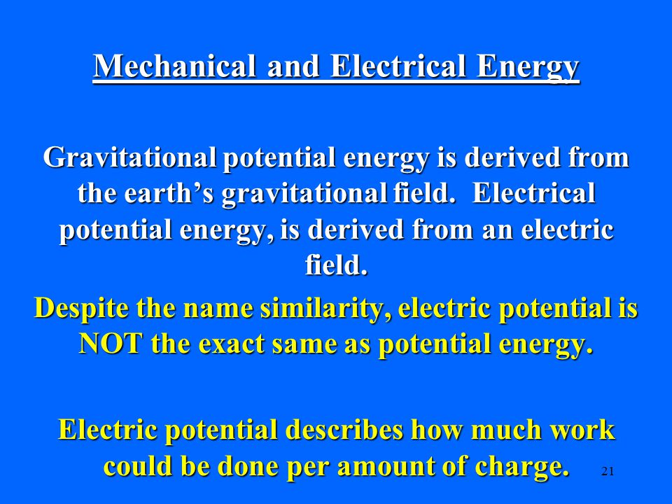Mechanical and Electrical Energy