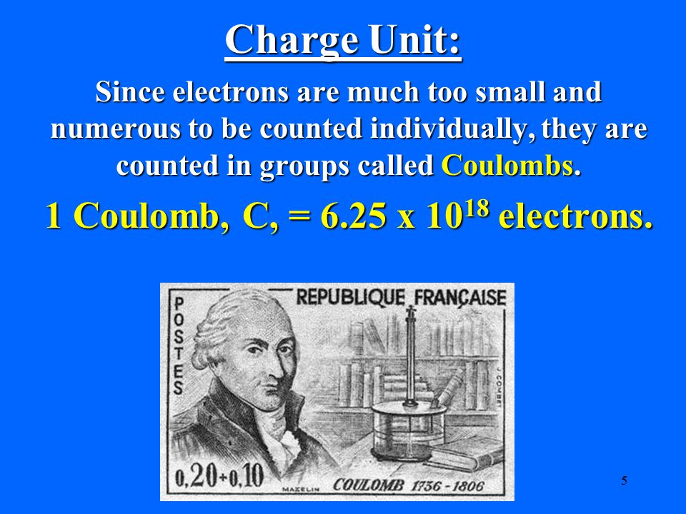 Charge Unit: 1 Coulomb, C, = 6.25 x 1018 electrons.
