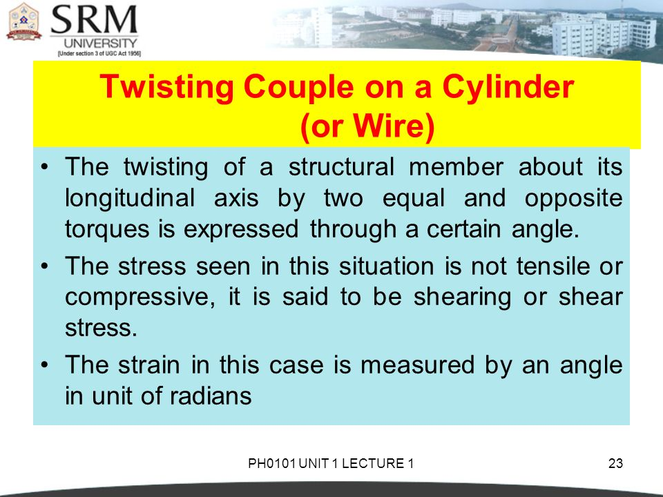 Twisting Couple on a Cylinder (or Wire)