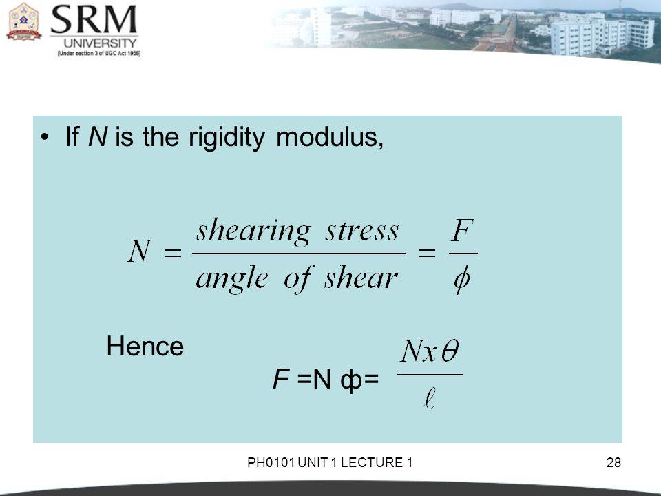 If N is the rigidity modulus,
