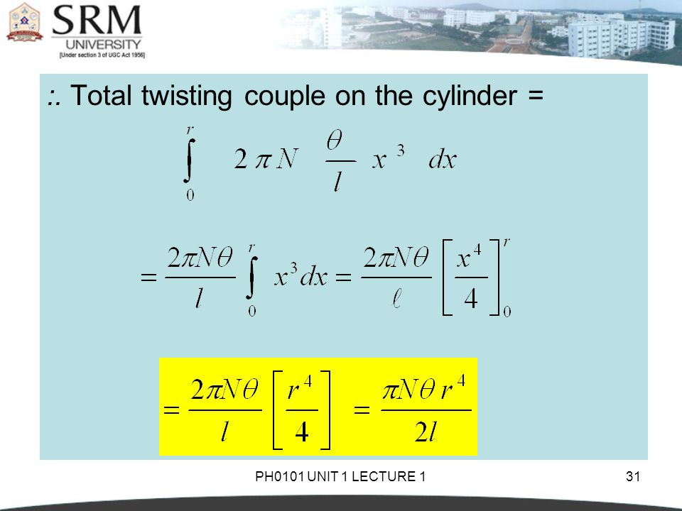 :. Total twisting couple on the cylinder =