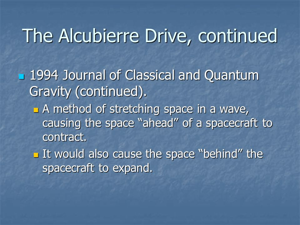 The Alcubierre Drive, continued