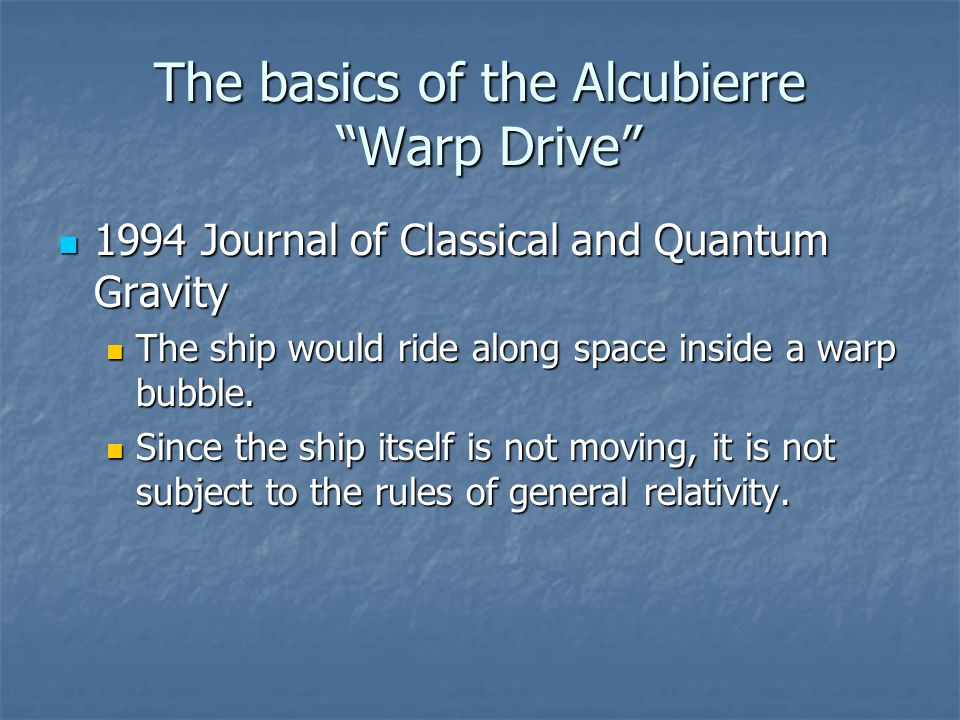The basics of the Alcubierre Warp Drive
