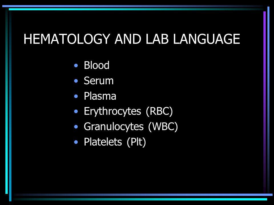 HEMATOLOGY AND LAB LANGUAGE