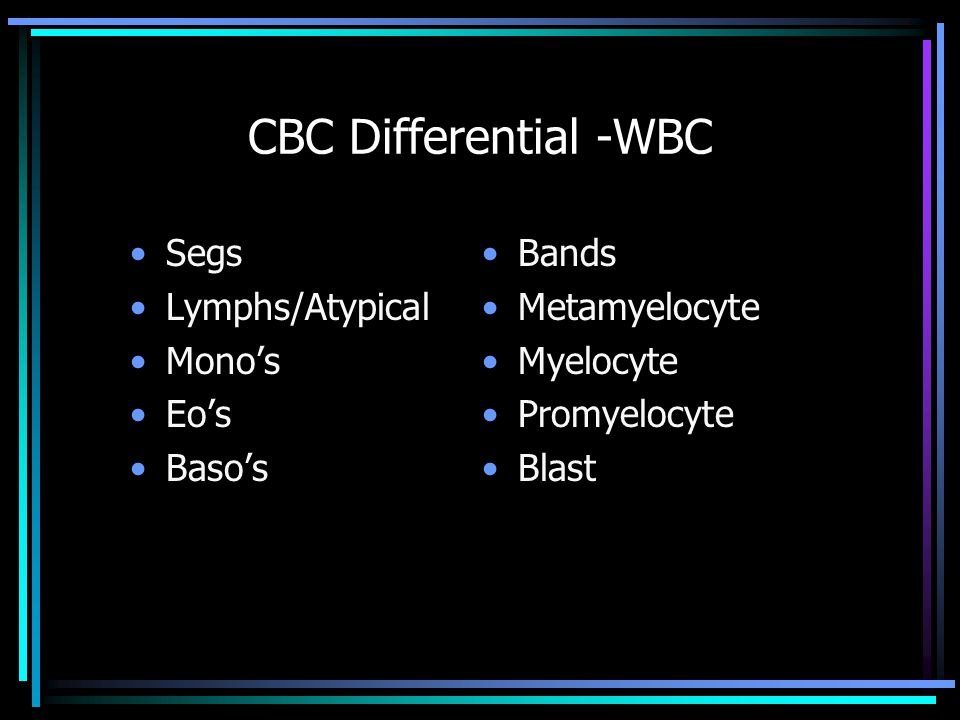 CBC Differential -WBC Segs Lymphs/Atypical Mono's Eo's Baso's Bands