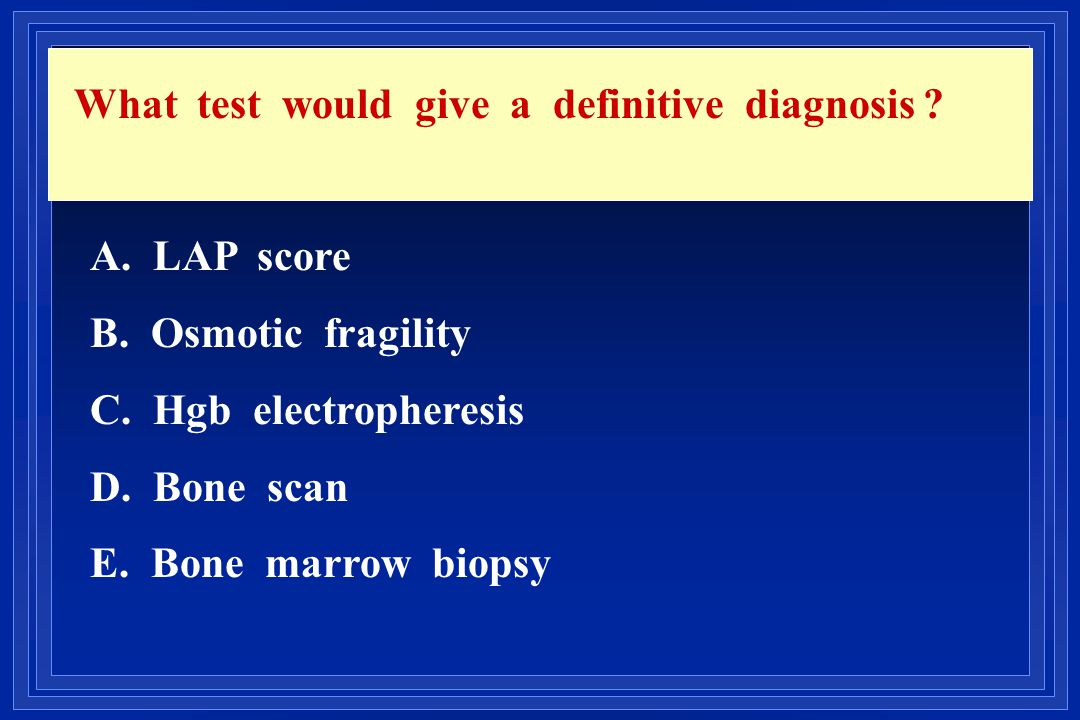 What test would give a definitive diagnosis