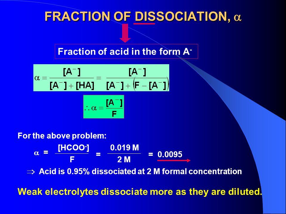 FRACTION OF DISSOCIATION, 